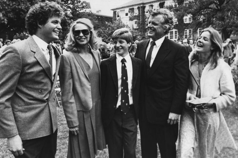 Sen. Edward M. Kennedy and his estranged wife Joan pose with their son Patrick who graduated from Fessenden School in West Newton on June 2, 1983. Joining in are son Edward Kennedy Jr. (L) and daughter Kara (R). Patrick is the youngest son and graduated Magna Cum laude from the 47-member ninth grade class at the exclusive all boys school. (UPI Photo/Jim Bourg/Files)