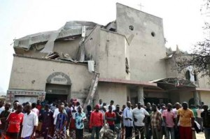 A Catholic Church destroyed by the militant Muslim Jihadist group Boko Haram
