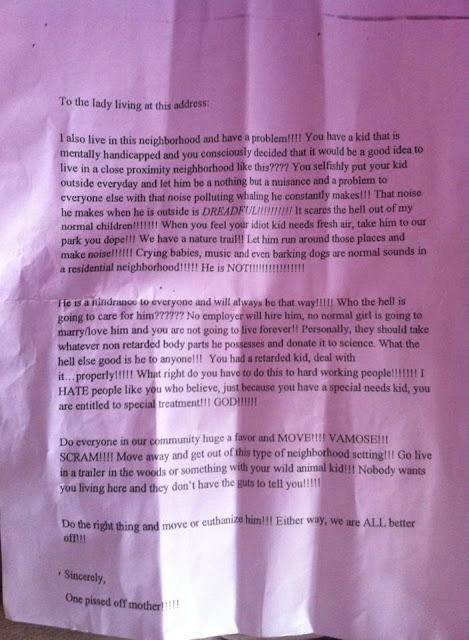 autism letter