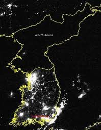 Korean peninsula at night